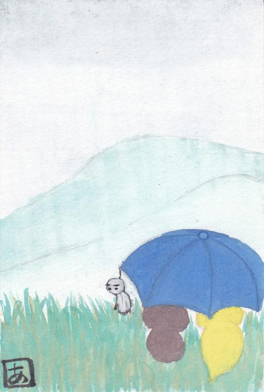 タヌキとキツネがてるてる坊主の付いた傘で相合傘している水彩画