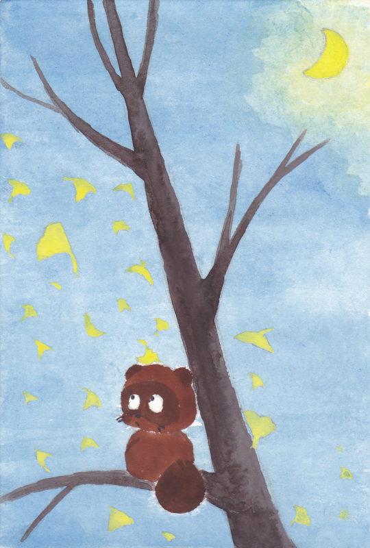 タヌキが落葉する銀杏の木に登ってお月見している水彩画