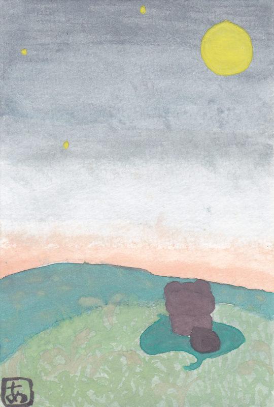 タヌキが丘に登って月見をしている水彩画