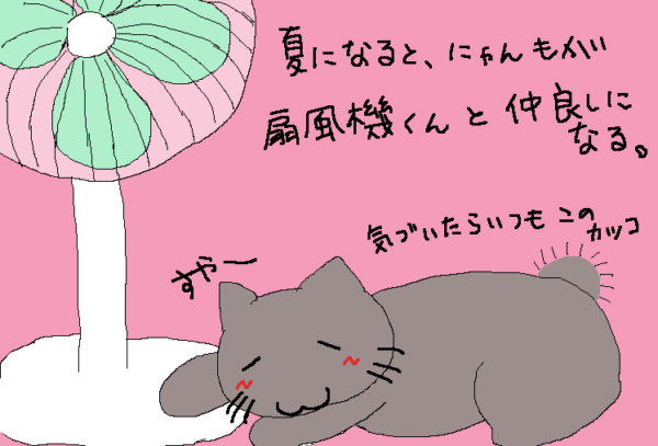 夏になると、何故か扇風機の足元でくつろぐ猫のイラスト