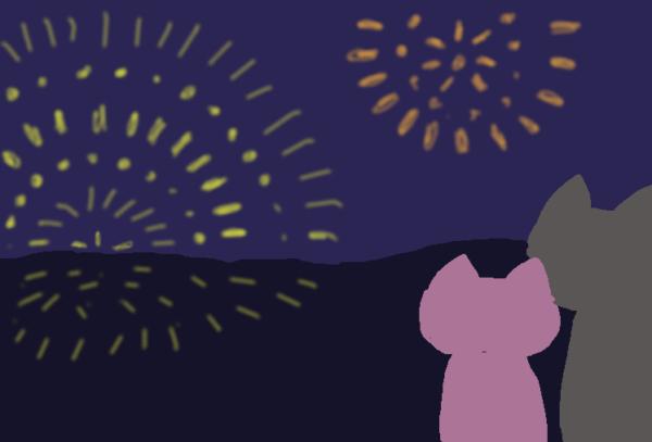 花火を見る豚とネコのイラスト