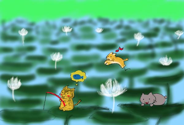 満開のハス畑で遊ぶ3匹の猫
