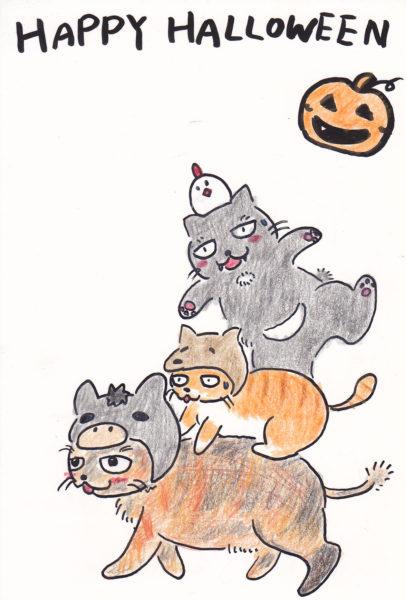 ハロウィーン+猫のイラスト