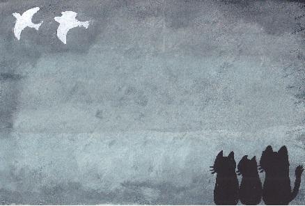 喪中はがきに。旅立つ鳥を見送る3猫