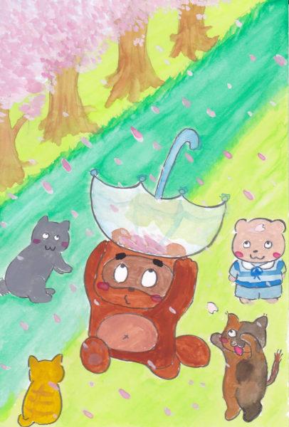 春の桜並木の下で、傘で桜の花びらを集めてみているたぬきと、それを眺める猫とシロクマのイラスト