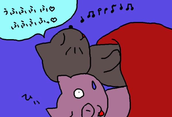 寝ながら鼻歌を歌う灰色猫のイラスト