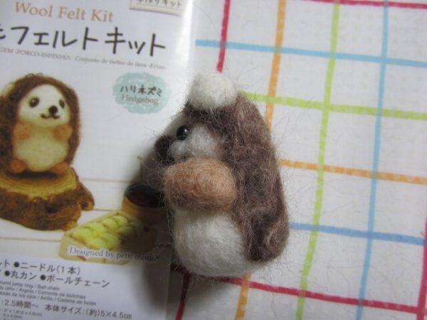 ぷっこ、羊毛フェルト初挑戦ハリネズミ