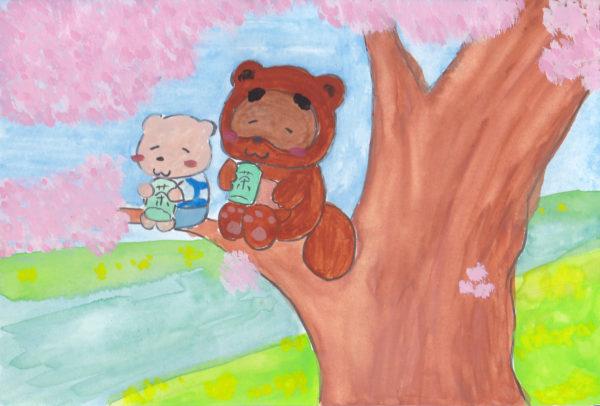 春の小川で桜の枝に腰掛けて、お花見しているたぬきとシロクマのイラスト