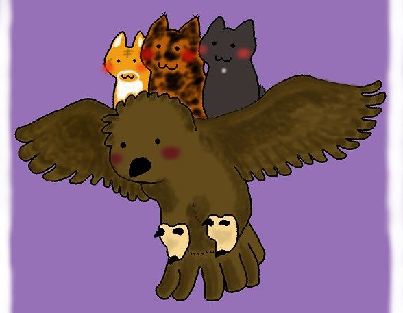 喪中ハガキ フクロウと猫