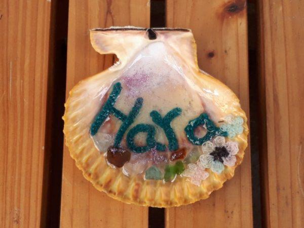 ヒオウギガイの貝殻で表札を作ってみた。