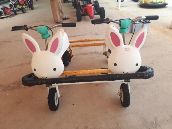 ひめじ手柄山遊園のチャリティーに申込みしてみた、ウサギの2人乗りの自転車