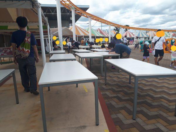 ひめじ手柄山遊園のチャリティーに申込みしてみた、会場の様子とテーブル