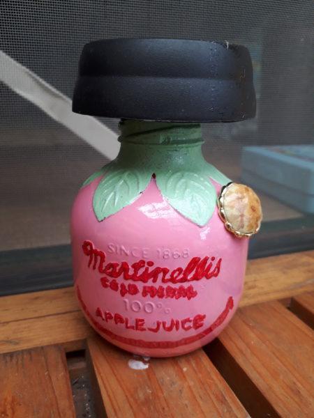 再三。空きビンをソーラーランプにリメイク(* ̄▽ ̄)ノ【マルティネリのアップルジュース瓶&ガンバってモロッコ風】