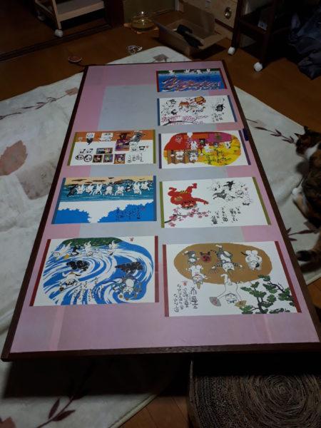 襖の張り替えやってみた・その2【デンプン糊で、猫の絵柄を貼ってみた】岡本肇の猫のカレンダーを襖に貼る