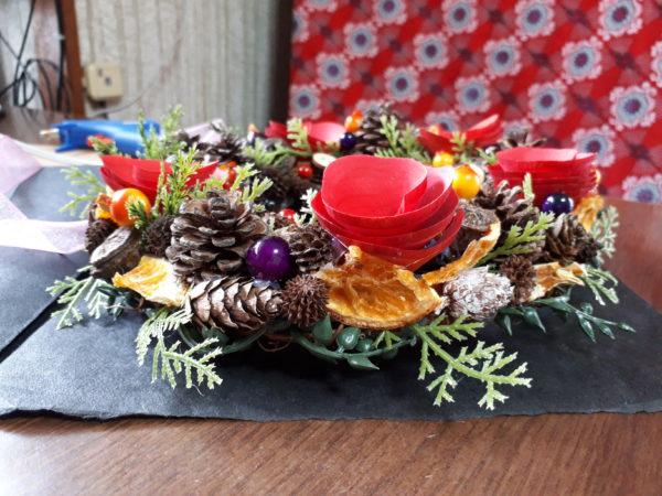 100円ショップ(ダイソー&セリア)の商品で、クリスマスリース2つ目を作成。DIY、手作り
