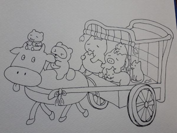 おじゃる丸の牛車に乗るぷっことししゃもと猫4匹