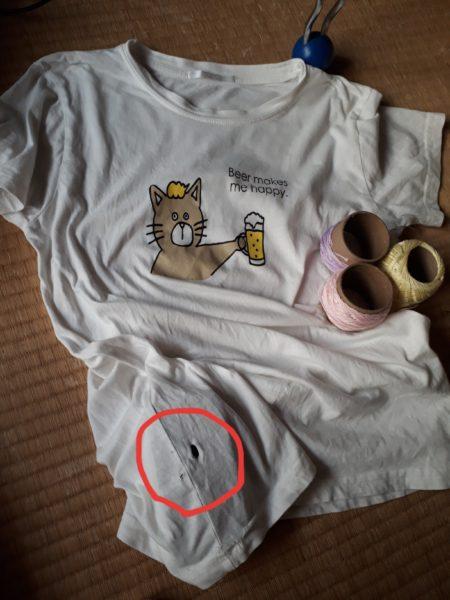 お気に入りは、お直しして長く使いたい(ФωФ)b【Tシャツの穴をダーニングで塞ぐ】