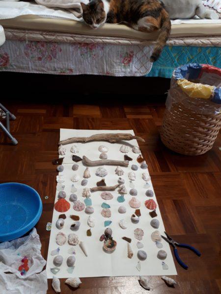 古いパーツを再利用(ФωФ)流木とシーグラスと貝殻のウインドチャイム手作りしてみた